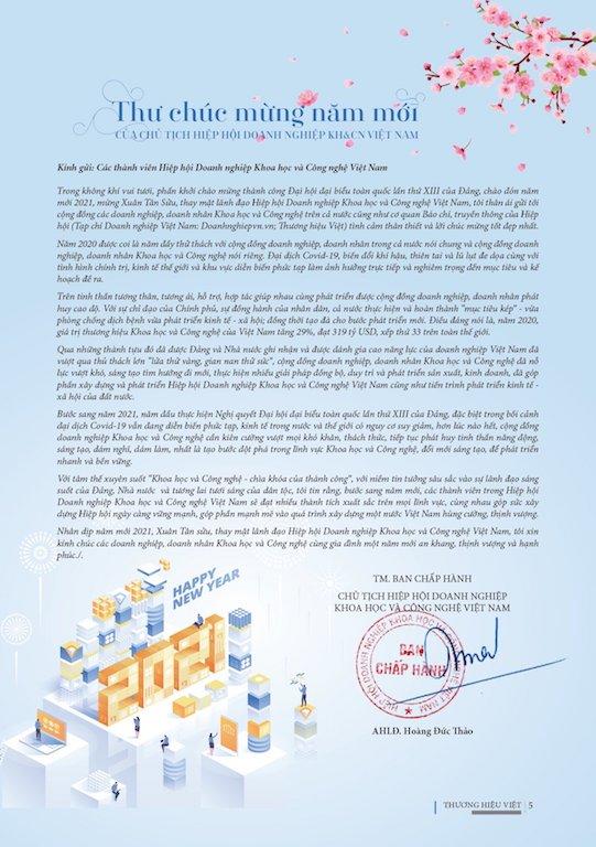 Thư chúc mừng năm mới của Chủ tịch Hiệp hội Doanh nghiệp KH&CN Việt Nam Hoàng Đức Thảo.