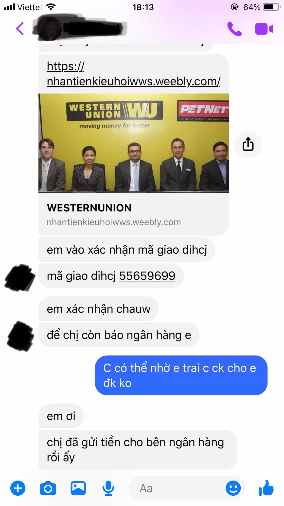 Các đối tượng lừa đảo dẫn dụ bị hại đăng nhập vào đường link website Western Union giả mạo.