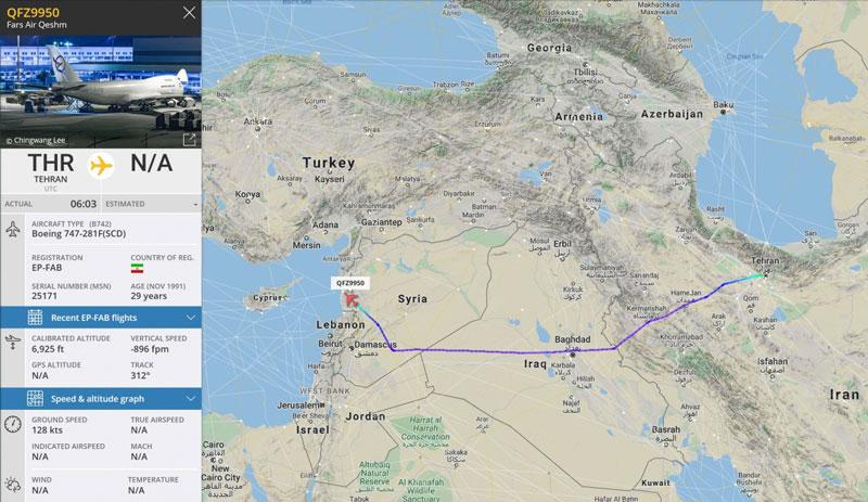 Lộ trình của máy bay Iran.