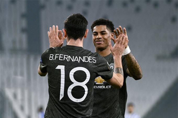 Fernandes vaf Rashford cùng có cột mốc mới sau khi ghi bàn ở trận Sociedad vs MU