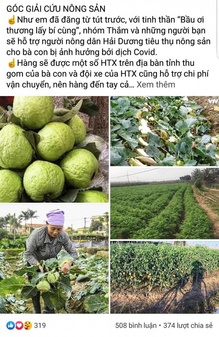 Các cá nhân kêu gọi mọi người hỗ trợ tiêu thụ nông sản của tỉnh Hải Dương. (Ảnh chụp màn hình).