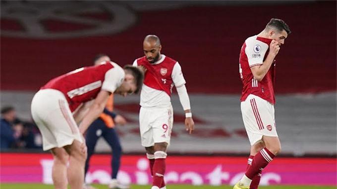 Arsenal hiện chỉ đứng thứ 10 trên BXH