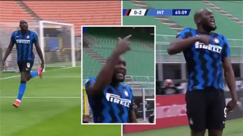 Lukaku ăn mừng theo cách muốn khiêu khích Ibrahimovic ở trận Milan vs Inter