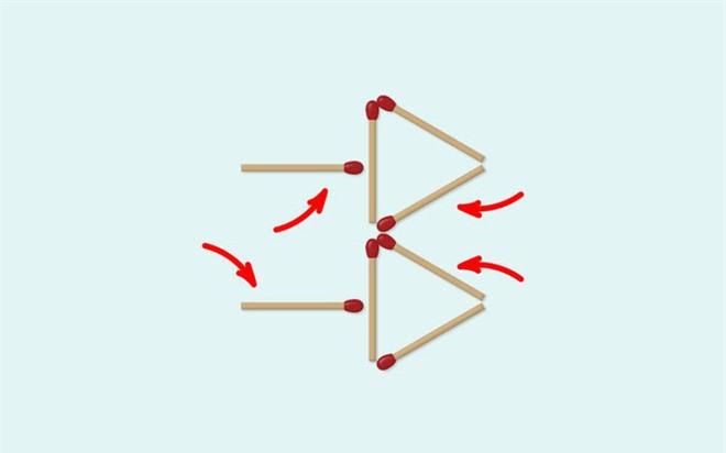 Thách thức trí não 5 giây: Đố bạn di chuyển 4 que diêm để xếp thành 2 hình tam giác - Ảnh 2.