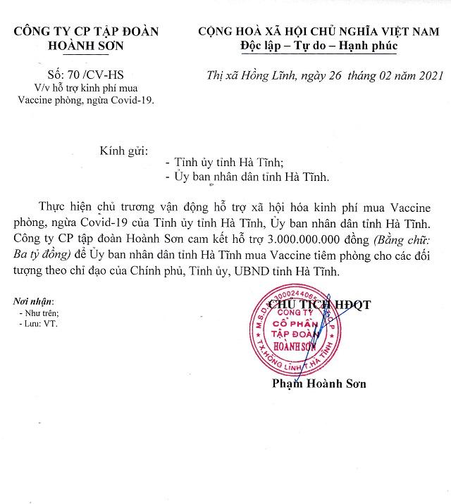 Văn bản của Công ty CP Tập đoàn Hoành Sơn về việc cam kết hỗ trợ tỉnh Hà Tĩnh 3 tỷ đồng mua vắc xin tiêm phòng Covid-19