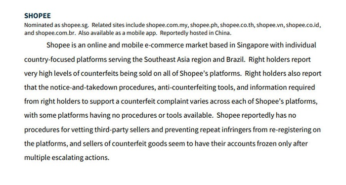 """Shopee bị Mỹ cáo buộc bán hàng giả với """"mức độ rất cao""""."""