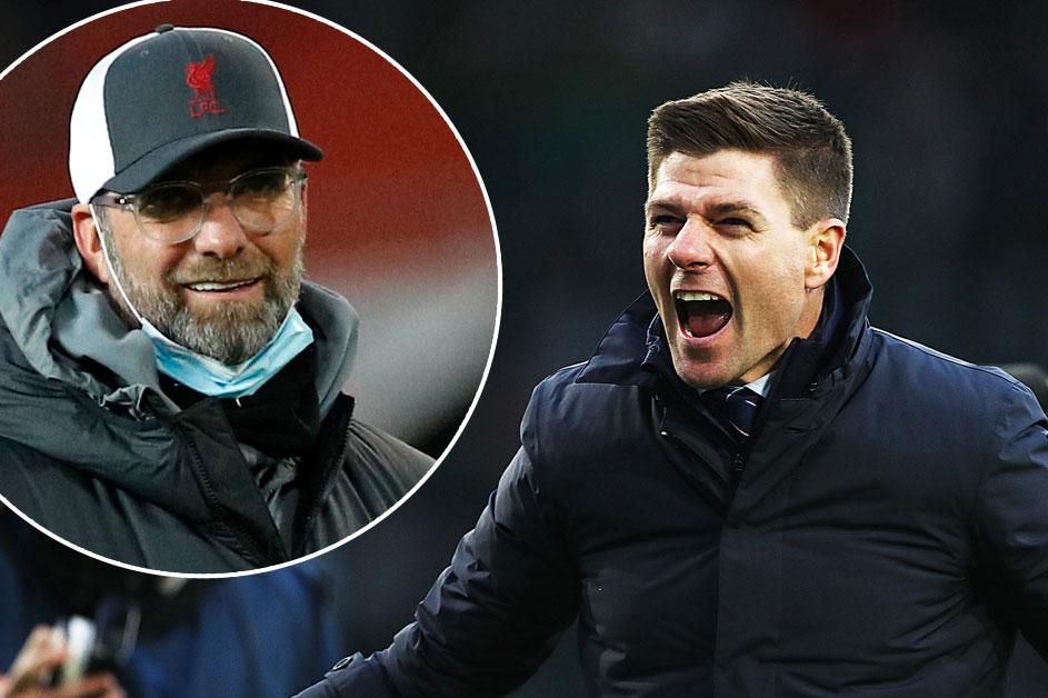 Gerrard (phải) được Liverpool nhắm tới để thay Klopp.