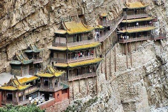 Chùa Huyền Không Sơn Tây (Trung Quốc): Nằm trên vách núi, cao 75m, tổng diện tích 152.5m2.