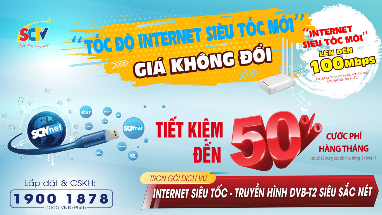 """Hình ảnh truyền thông của nhà mạng SCTV trong chương trình """"Tốc độ Internet siêu tốc mới""""."""
