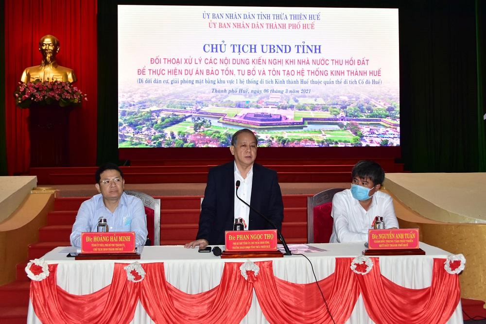 Chủ tịch UBND tỉnh Thừa Thiên Huế Phan Ngọc Thọ phát biểu tại buổi đối thoại.