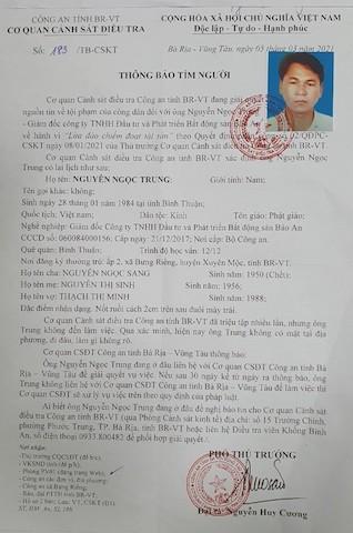 Cơ quan CSĐT thông báo tìm ông Nguyễn Ngọc Trung - Giám đốc Công ty TNHH đầu tư và phát triển BĐS Bảo An.