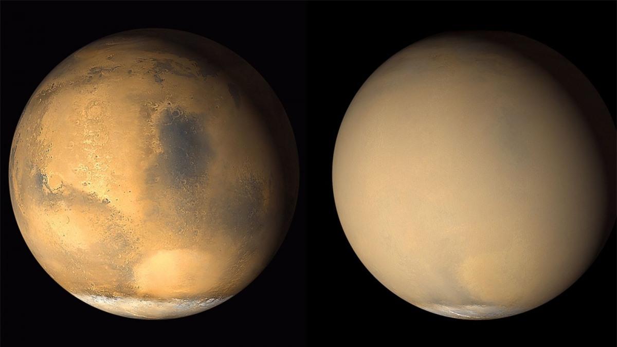 Sao Hỏa được biết tới là nơi có những trận bão cát vây quanh hành tinh. Những hình ảnh được chụp năm 2001 này từ tàu thăm dò Mars Global Surveyor của NASA cho thấy sự thay đổi mạnh mẽ của sao Hỏa khi lớp bụi do hoạt động của bão cát ở phía nam dần bao trùm khắp hành tinh.