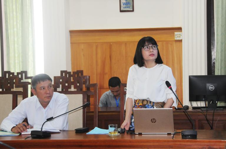 Đại diện Trung tâm Bảo tồn di tích Cố đô Huế phát biểu tại cuộc họp.