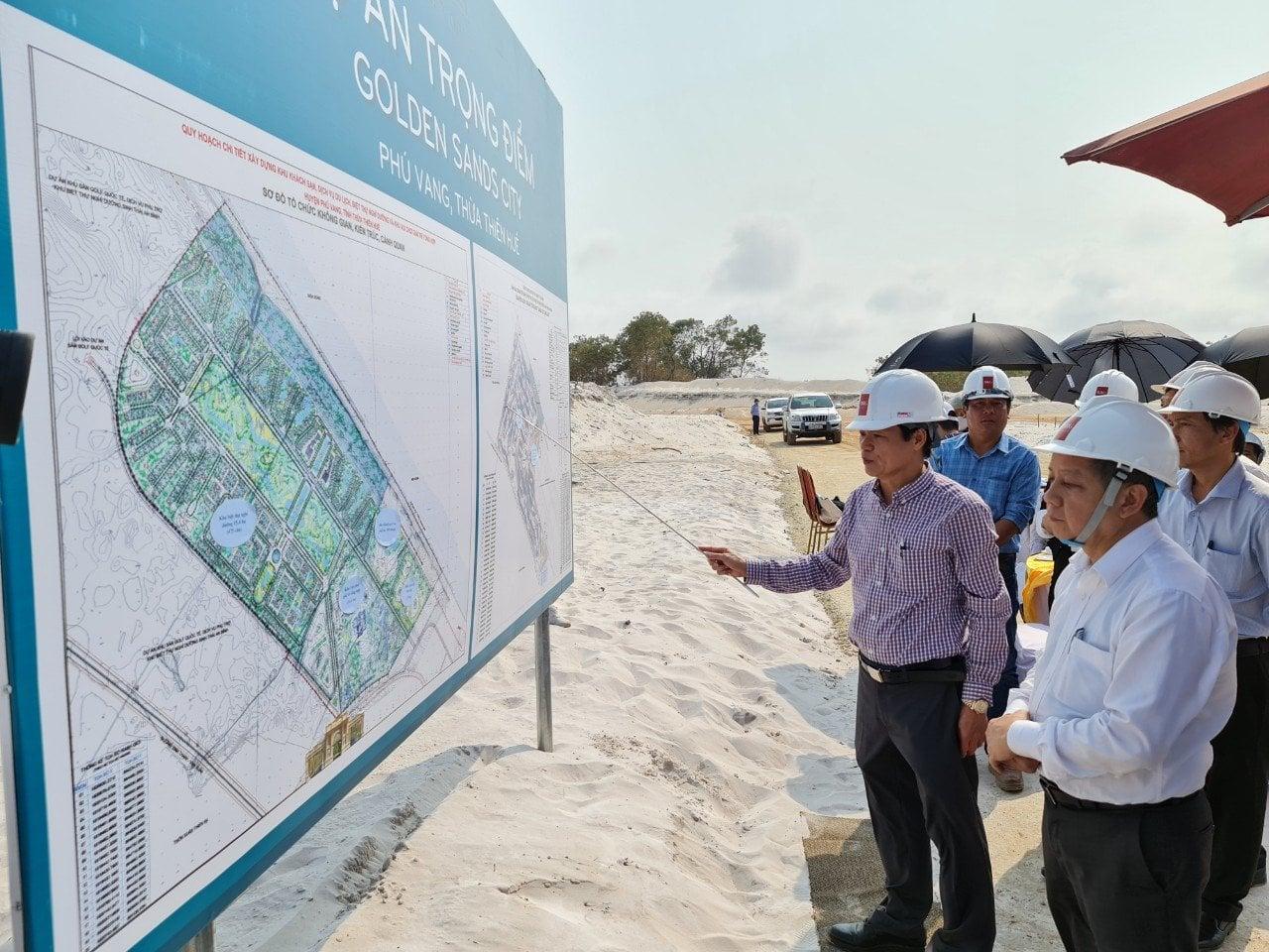 Chủ tịch UBND tỉnh Thừa Thiên Huế Phan Ngọc Thọ kiểm tra tiến độ xây dựng Dự án Khu khách sạn, dịch vụ nghĩ dưỡng, biệt thự của tập đoàn BRG.