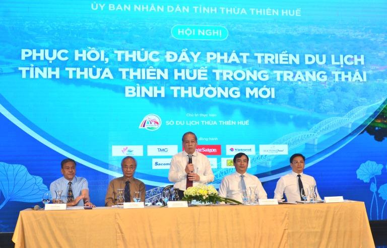 Chủ tịch UBND tỉnh Thừa Thiên Huế Phan Ngọc Thọ phát biểu tại Hội nghị.