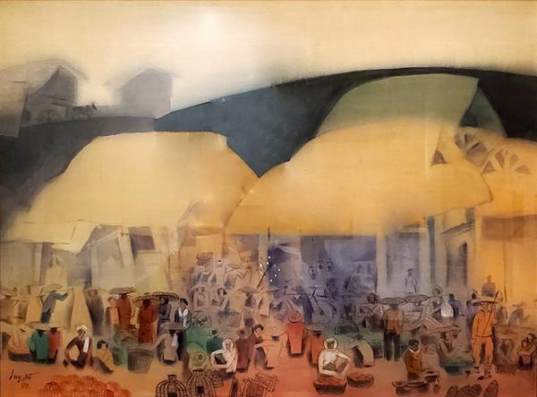 """Tác phẩm tranh in lụa """"Chợ quê"""" của Duy Vũ trong bộ sưu tập tranh """"Houei"""" được ông Toyokichi Itoh hiến tặng và cho TP Đà Nẵng mượn dài hạn"""
