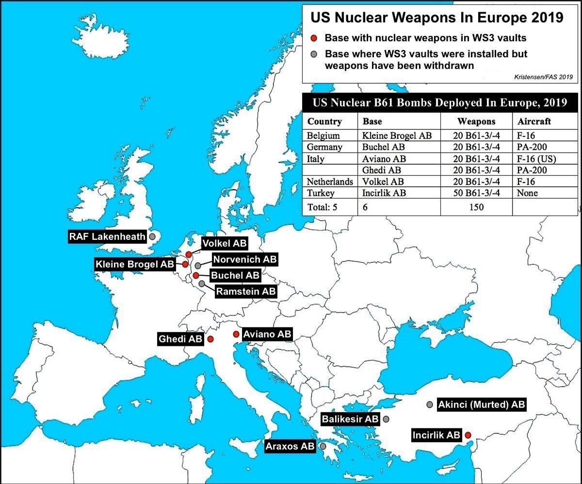 Vũ khí hạt nhân Mỹ ở Châu Âu năm 2019; Nguồn: fas.org