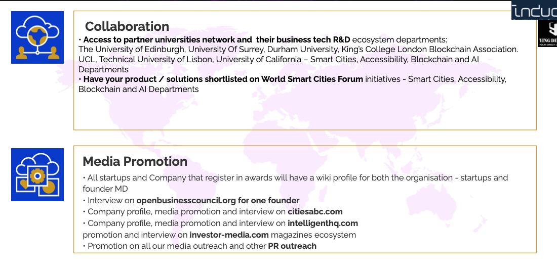 Phần thưởng dành cho doanh nghiệp, tổ chức giành giải thưởng openbusinesscouncil citiesabc