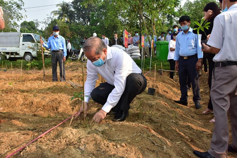 Chủ tịch UBND tỉnh Thừa Thiên Huế Phan Ngọc Thọ tham gia trồng cây Mai vàng tại huyện Phong Điền.