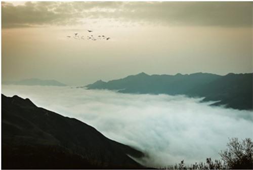 Biển mây ôm trọn lấy những dãy núi phía xa
