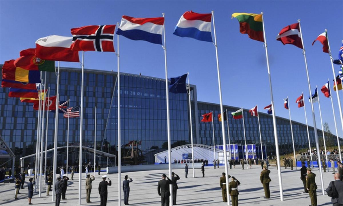 Cờ của các nước thành viên NATO. Ảnh: AP.