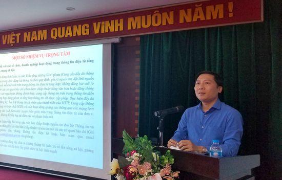 Giám đốc Sở TT&TT Hà Nội Nguyễn Thanh Liêm phát biểu tại Hội nghị