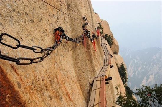12. Núi Hoa Sơn, Huayin, Trung Quốc: Đây là một trong những con đường nguy hiểm nhất thế giới, làm bằng vài miếng ván ọp ẹp ghép lại và gắn vào vách đá. Con đường lên núi nổi tiếng được xây dựng vào thế kỷ 3 – 4 sau công nguyên dưới triều nhà Đường.
