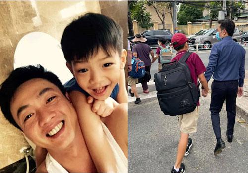 Khoảnh khắc Cường Đô La đón Subeo khi tan học nhận 'bão like', con trai riêng cao gần bằng bố