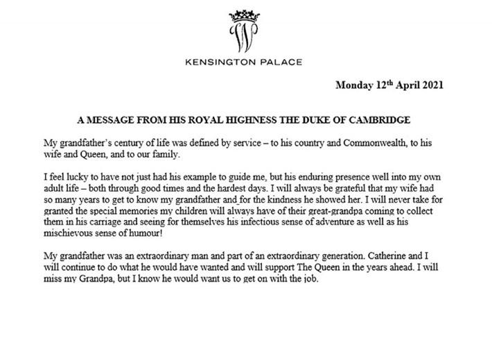 Hoàng tử William và em trai Harry đồng loạt lên tiếng về sự ra đi của Hoàng tế Philip - Ảnh 2.