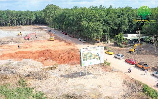 Dự án Khu nhà ở nông thôn An Phú Long Garden (xã An Long, huyện Phú Giáo) vừa bị ngành chức năng tỉnh Bình Dương xử phạt vì xây dựng không phép. (Ảnh: VĐ)