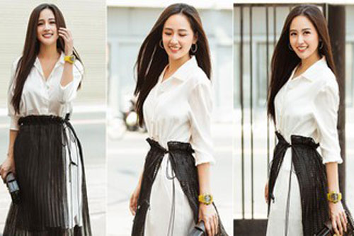 Mai Phương Thúy mặc sơ mi trắng xinh đẹp như nữ sinh khi làm khách mời tại 'Ký ức vui vẻ'