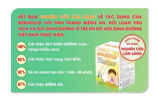 Kết quả nghiên cứu lâm sàng cốm vi sinh BEBUGOLD của Hội Dinh Dưỡng Việt Nam.