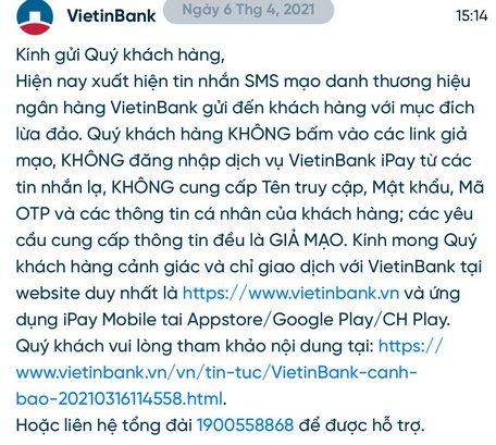 Khuyến cáo từ VietinBank