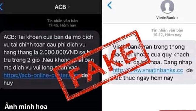 Các tin nhắn lừa đảo với Brandname của ngân hàng