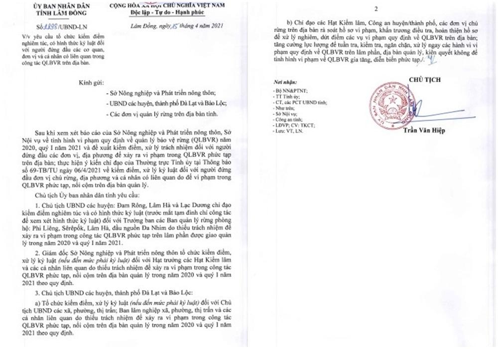 Văn bản chỉ đạo xử lý kỷ luật của UBND tỉnh Lâm Đồng.