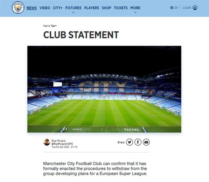 """Man City: """"CLB bóng đá Man City xác nhận chúng tôi đã thực thi các quy trình cần thiết để rút khỏi nhóm đang triển khai kế hoạch tổ chức giải Super League"""""""