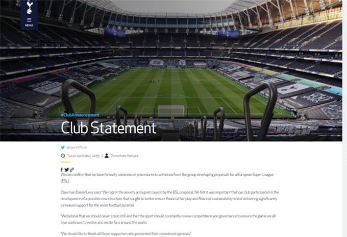 """Tottenham: """"Chúng tôi đã khởi động các quy trình để rút khỏi nhóm triển khai đề xuất thành lập Super League""""."""