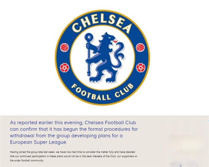 Chelsea thông báo rút khỏi Super League