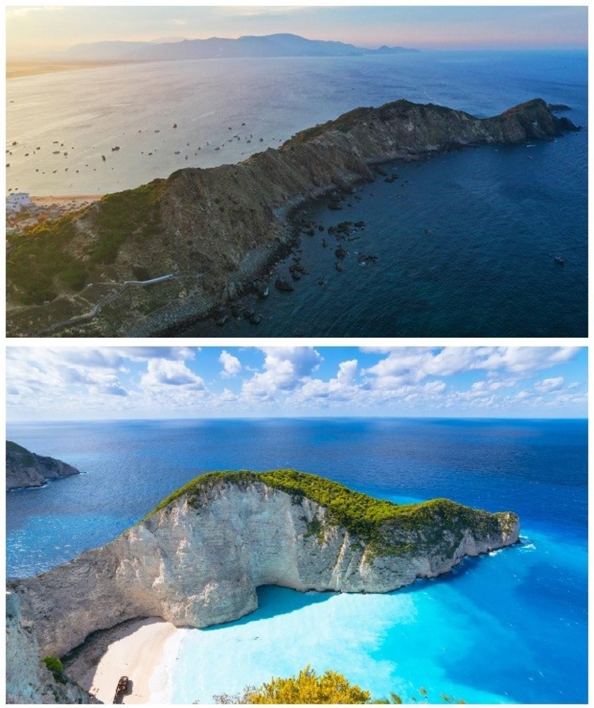 Eo Gió (trên) và bãi biển Navagio, Hy Lạp (dưới) nhìn từ trên cao.