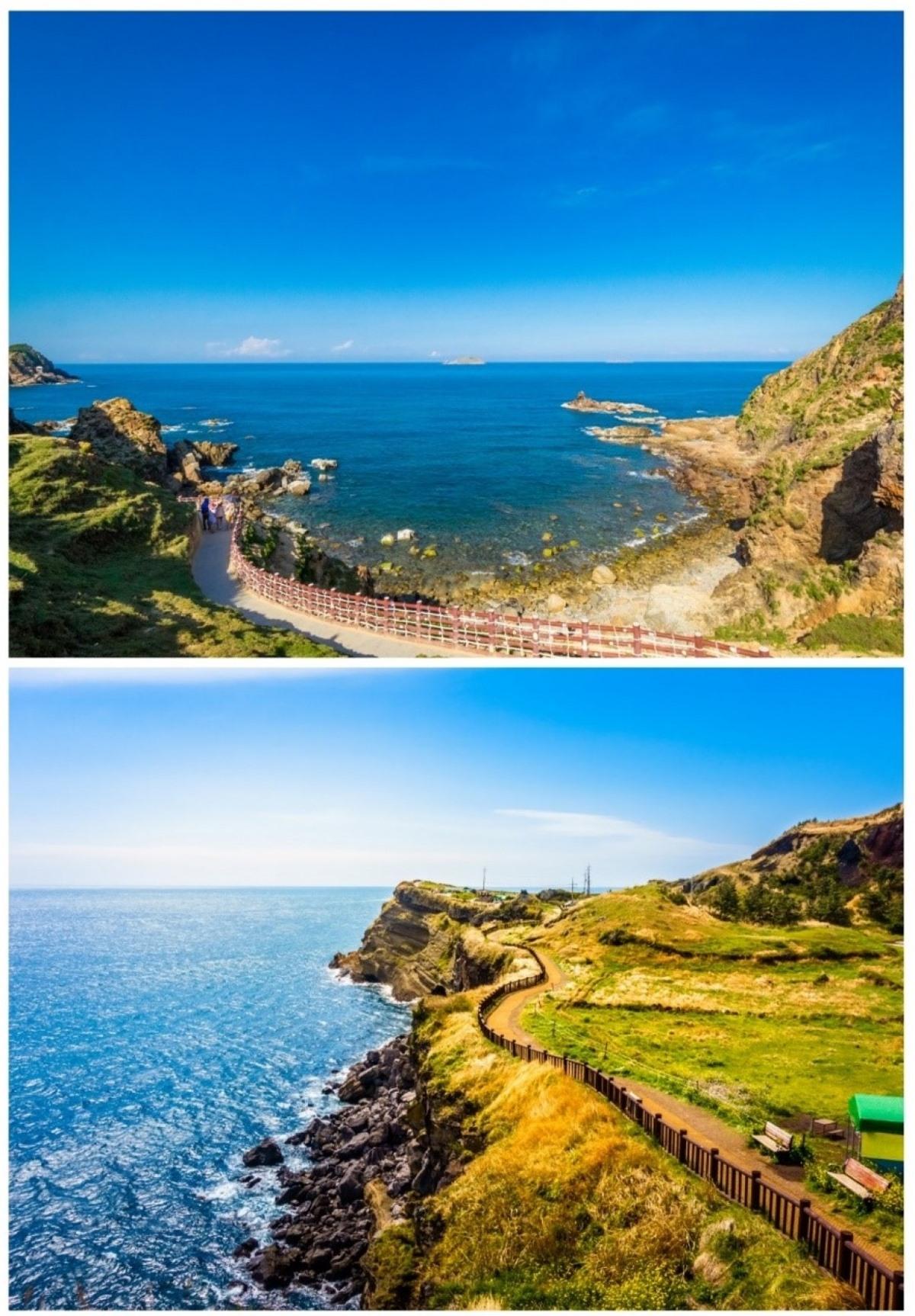 Con đường đi bộ ven biển ở Eo Gió (trên) và đảo Jeju, Hàn Quốc (dưới)