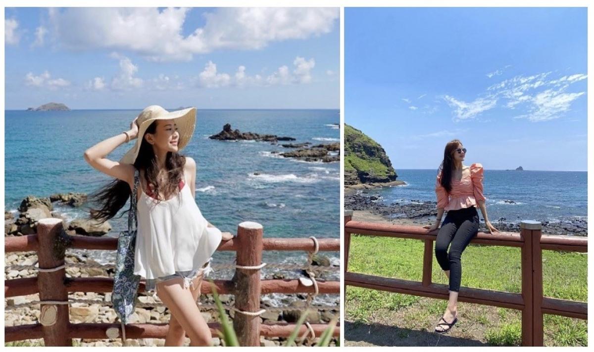 Không khó để có thể nhận ra nét tương đồng trong 2 bức ảnh check-in lần lượt tại Eo Gió (trái) và Jeju (phải) – Nguồn: leejihyeonnn; huahuanong.