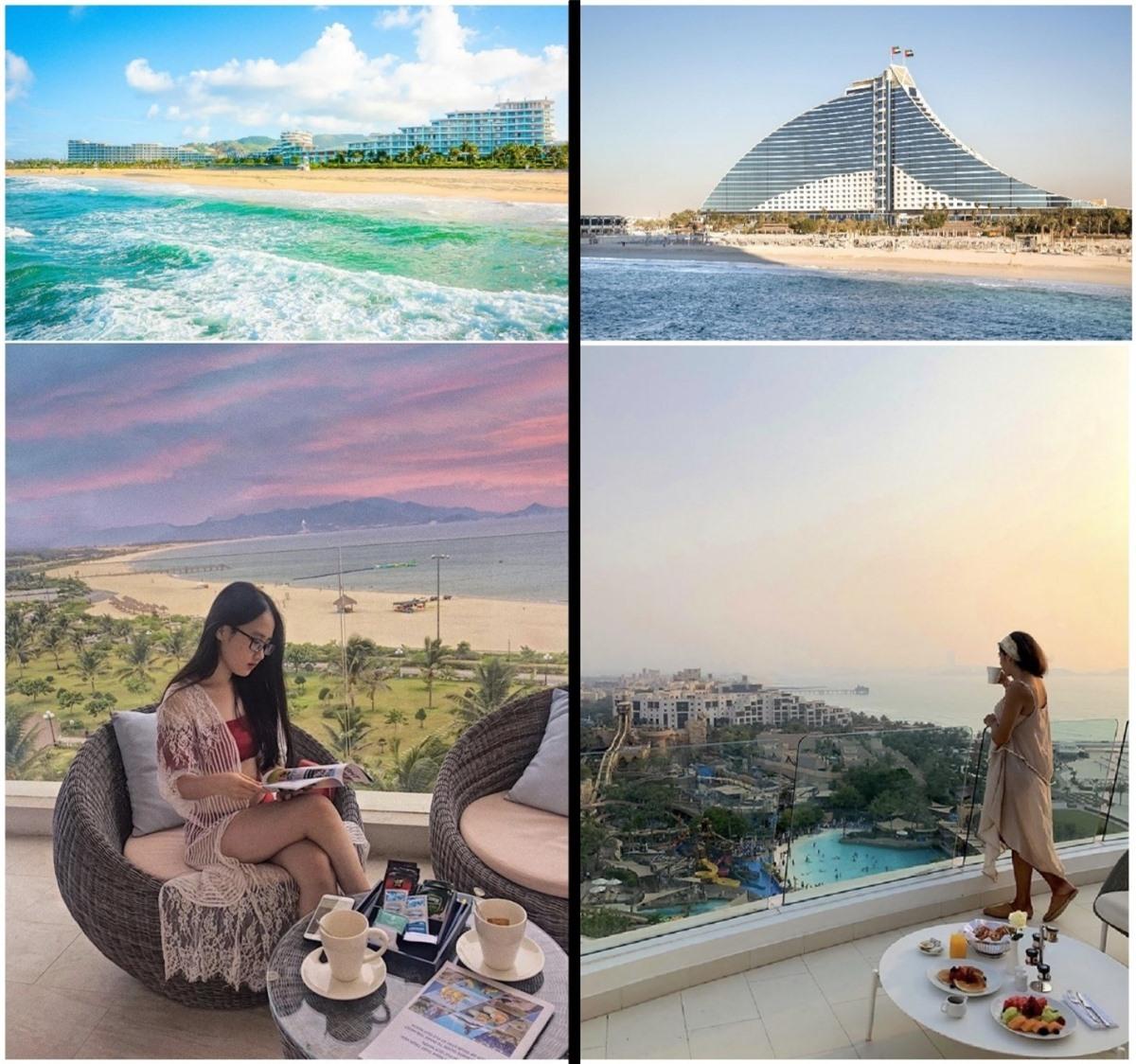 Kiến trúc và view biển đẳng cấp của FLC Quy Nhơn (trái) gợi nhắc khung cảnh tại những khách sạn 5 sao ven biển Dubai (phải) – Nguồn: phanhneee_, jumeirahbh