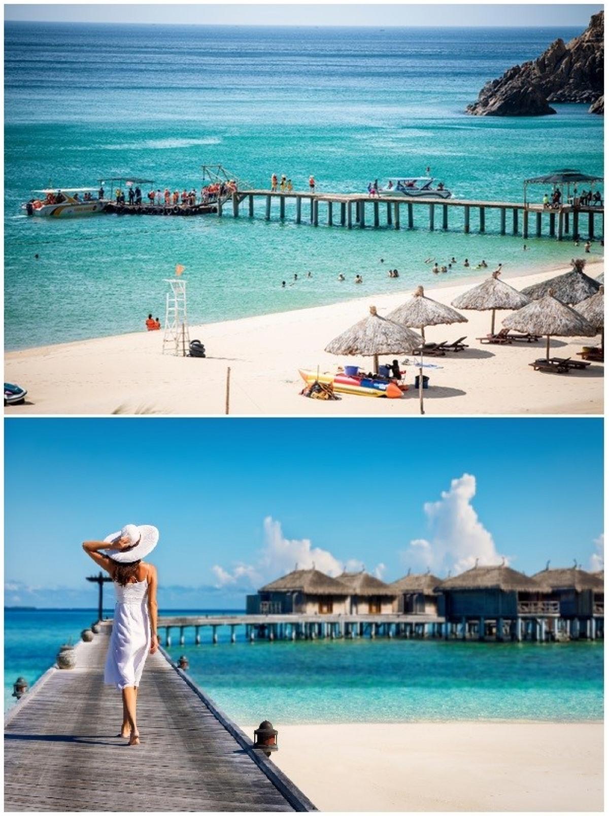 Vẻ đẹp mang nhiều nét tương đồng của Kỳ Co (trên) và Maldives