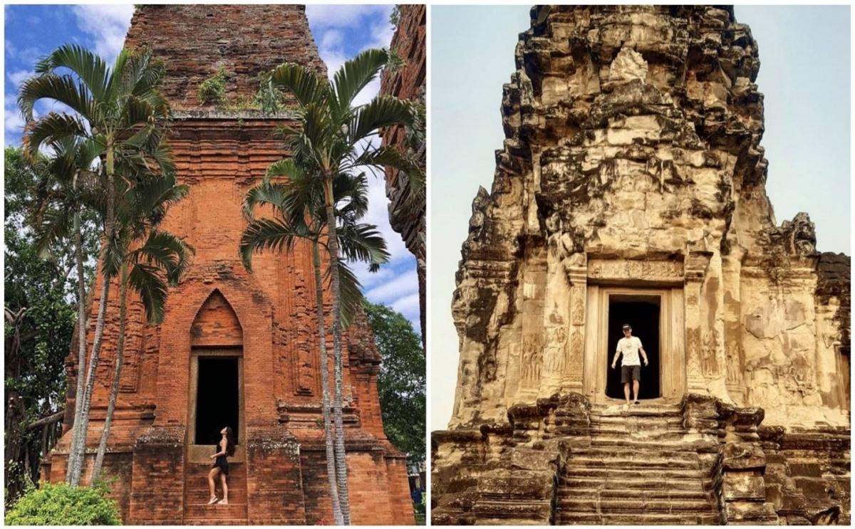 Nếu không quá rành về kiến trúc Chăm và Khmer cổ, thật khó để bạn có thể phân biệt đâu là khung hình chụp tại Tháp Đôi Quy Nhơn, đâu là khung hình chụp tại đền Angkor Wat – Nguồn: Tschini Nguyen, weissfelipe)./.