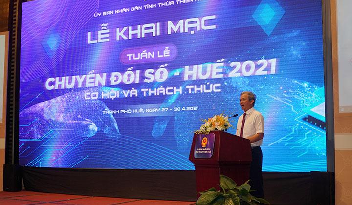 Bí thư Tỉnh ủy Thừa Thiên Huế Lê Trường Lưu phát biểu tại lễ khai mạc.