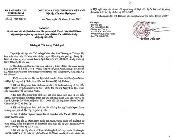 Khởi tố vụ án làm lây lan dịch bệnh truyền nhiễm tại Hà Nam - 1