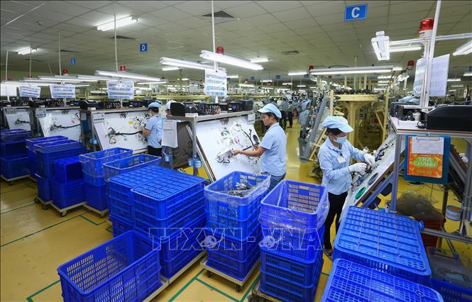 Sản xuất linh kiện điện tử tại Công ty TNHH Điện - Điện tử Mê Trần Vĩnh Phúc. Ảnh minh họa: Danh Lam/TTXVN.