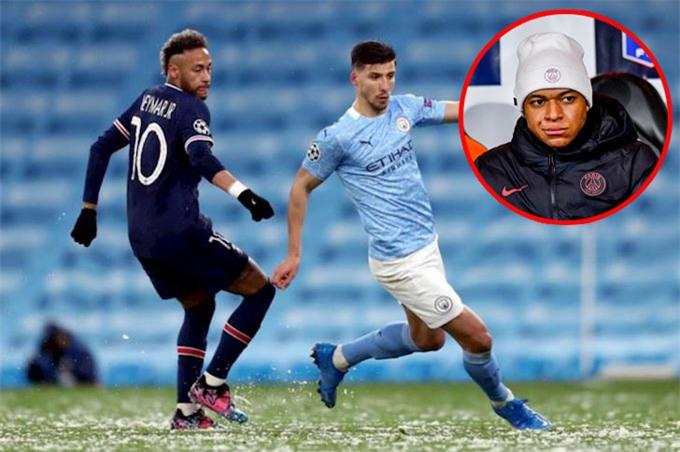 Ở trận bán kết lượt về giữa Man City vs PSG, Neymar bất lực trước hàng thủ đội chủ nhà còn Mbappe chỉ ngồi dự bị do chấn thương
