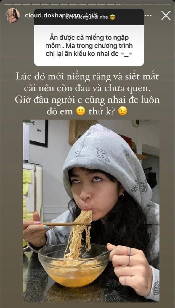Bị thắc mắc về chuyện ăn uống ở Sao Nhập Ngũ, Khánh Vân đanh đá đáp trả: Giờ đầu người cũng nhai được luôn! - Ảnh 1.
