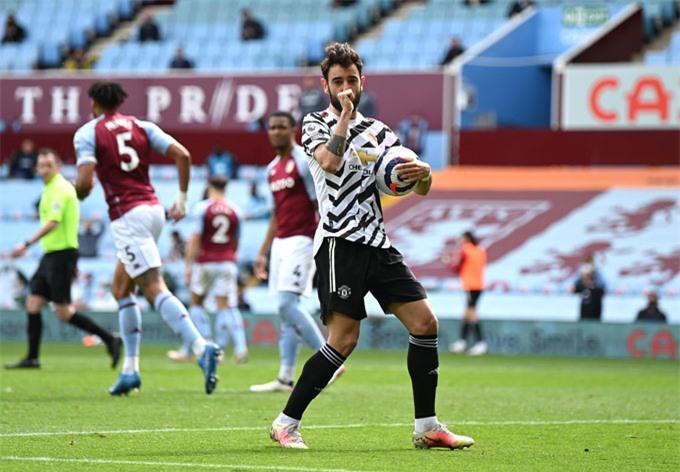 Bruno Fernandes gỡ hòa 1-1 trận Aston Villa vs MU ở phút 52 trên chấm 11m
